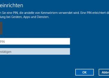 Windows 10 PIN anstatt von einem Passwort