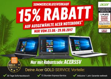 Jetzt 15% sparen – beim Acer Sommerschlussverkauf