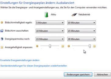 Wie kann man bei Windows 7 den Energiesparmodus abschalten?
